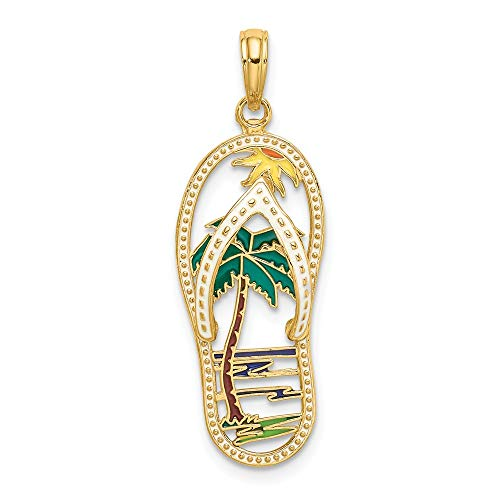 14k Yellow Gold Enamel Palm Tree Flip Flop Pendant Charm Necklace Sea Shore Sal Fine Jewelry Gifts For Women For ()