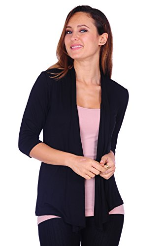 Simply Ravishing SR Womens Basic 3/4 Sleeve Draped Open Front Cardigan (Size: S-3X), Medium, Black (Sleeve 3/4 Birthday)