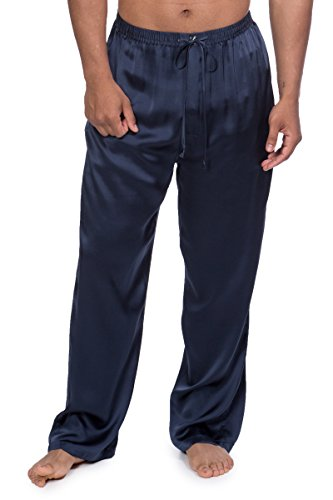 Mens Silk Lounge Pants - TexereSilk Men's Luxury Silk Pajama Pants (Hiruko, Midnight Blue, XXL) Best Gift