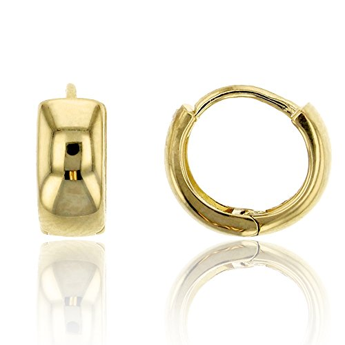 14K Yellow Gold High Polished 4.00x8.00mm Huggie Earring ()