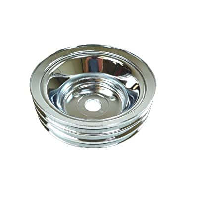Racer Performance Chevy Small Block Chrome Steel Crankshaft Pulley - Long (3 Groove): Automotive