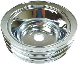 Short Racer Performance Chevy Small Block Chrome Steel Crank Pulley 3 Groove