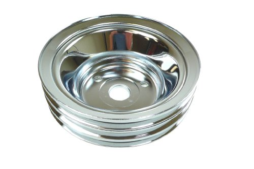 Racer Performance Chevy Small Block Chrome Steel Crankshaft Pulley - Long (3 Groove)