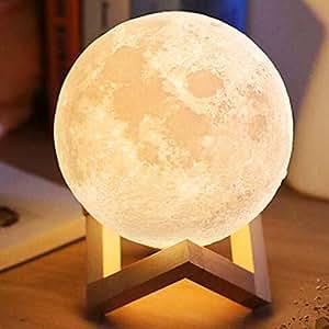 3D Print Moon Light Lighting Rechargeable Home Decorative Night Lamp 8cm