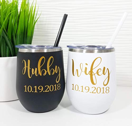 Personalized Wedding Gift Set of 2, Couples Gift, Stainless Steel Wine Tumblers, Wifey Wine Glass, Wifey and Hubby Gift, Wedding Gift Bride, Wedding Gift for Couple, Wine Glasses, Bridal Shower Gift