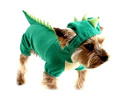 ARJOSA Puppy Dog Dinosaur Dragon Costume Hoodie Jumpsuit Jumper Pet Winter Coat Warm Clothes (L, 1 Green)