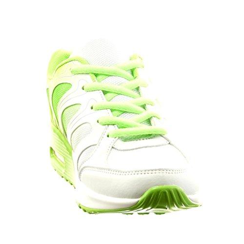 Sopily - Chaussure Mode Baskets Cheville femmes lignes Talon bloc 2.5 CM - Vert