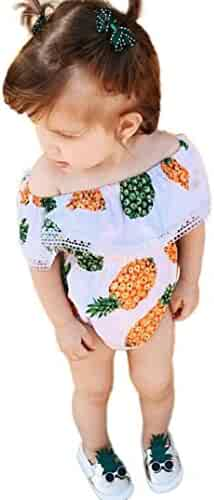 bc62a886b Efaster Newborn Baby Girls Bare Shoulder Pineapple Print Lace Romper  Jumpsuit