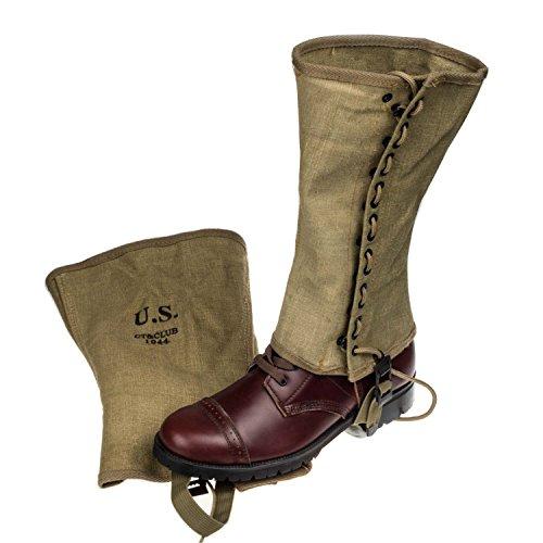 WWII Us Army Gaiters M1938 Canvas Legging Putte Spats Khaki Button Color Replica (Spat Boots)