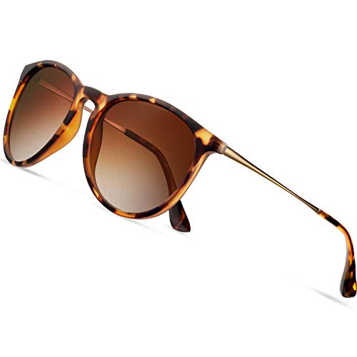 Sunglasses for Women Polarized uv Protection Wearpro Fashion glasses Vintage Round Classic Retro Aviator Mirrored Sun glasses (Leopard-print Brown/golden legs)