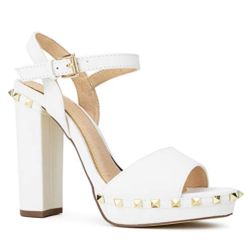 RF ROOM OF FASHION Studded Platform Chunky Heel Dress Sandals Pumps White Size.8