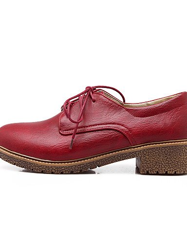 NJX/ Damenschuhe - Oxfords - Büro / Kleid - Kunstleder - Blockabsatz - Rundeschuh - Gelb / Rot / Grau red-us6 / eu36 / uk4 / cn36