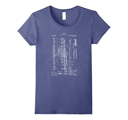 1908 Print (Womens Classic Vintage Patent Print 1908 Flute Player T-Shirt Small Heather Blue)