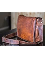 Leather Full Flap Messenger Handmade Bag Laptop Bag Satchel Bag Padded Messenger Bag School Bag 13X10X4 Inches...