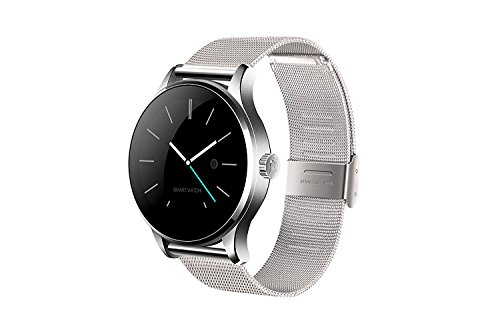 Bluetooth Smart Watch,K88H Stainless Steel Band Digital Sport Watch For IOS, Android Phone, Professional Statistical Pedometer and Heart Rate Monitor (Silver Metal)
