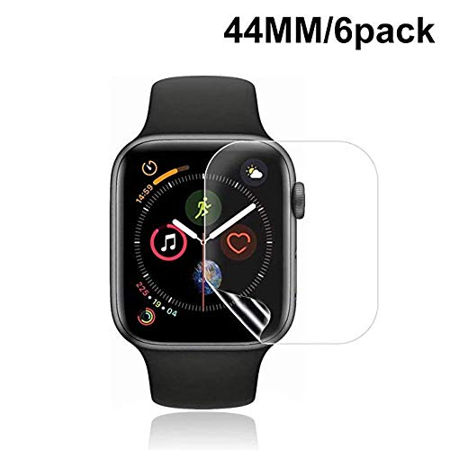 [6 Pack] Apple Watch Screen Protector 44MM PET, LuettBiden HD Screen Protector Anti-Bubble Scratch-Resistant Guard Cover 3D Hydrogel Protective Soft Film Apple Watch Series 4 44mm PET