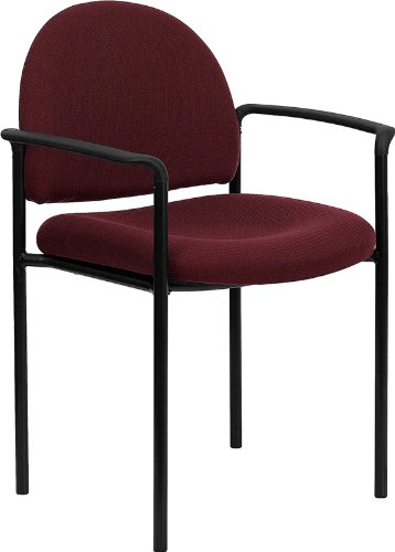 ort Burgundy Fabric Stackable Steel Side Reception Chair with Arms (Executive Side Arm Chair)