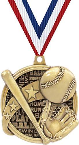 野球メダル - 2インチ Kudos 野球ボール、Tボール賞 メダル ゴールドプライム B07GJVKR47  1