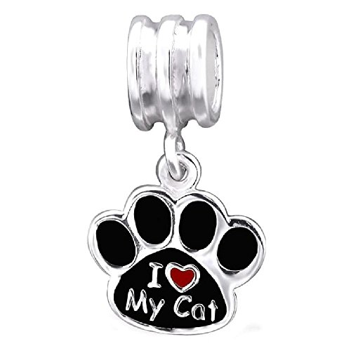 So Chic Jewels - 925 Sterling Silver Pendant Charm - Cat paws footprint I love my cat Black & Red Enamel - Compatible with Pandora, Trollbeads, Chamilia, Biagi
