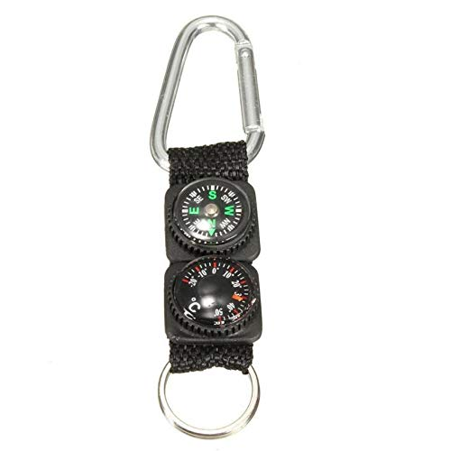 DeemoShop Multifunction Camping Climbing Hiking Mini Carabiner w/Keychain Compass Thermometer Hanger Key Ring 3 in 1 Black
