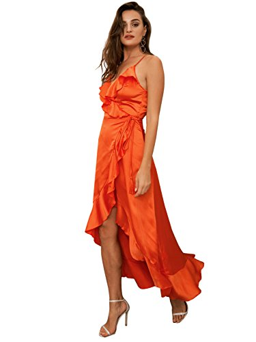Glamaker Women's Maxi Wrap Dress Strap Ruffles Satin Dress Long For Party Orange (Wrap Dress Front Satin)