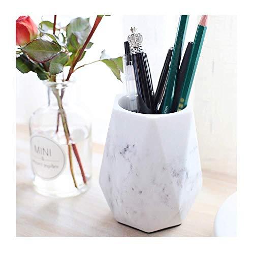 Nordic Marble Pen Holder Pen Storage Box Office Pen Holder Desktop Stationery Storage Tube Desk Elegant Art Decoration (Color : White)