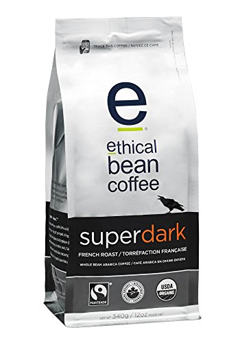 Ethical Bean Coffee Superdark: French Roast Whole Bean Coffee - USDA Certified Organic Coffee, Fair Trade Certified - 12 ounce bag