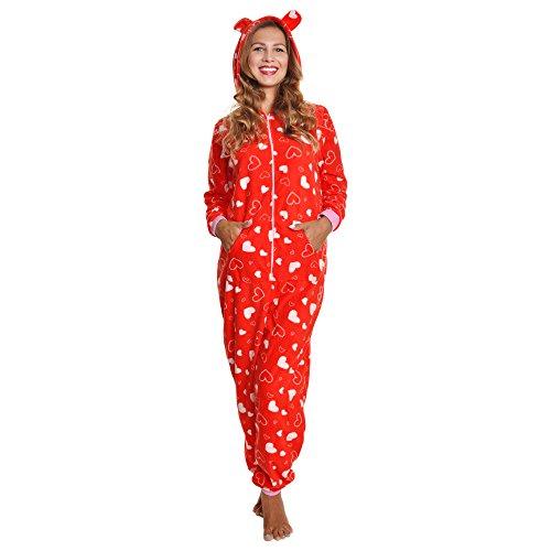 - Angelina Women's Fleece Novelty One-Piece Hooded Pajamas, PJ1Z_REDHRT_SM