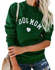 Macondoo Womens Casual Thicken Long-Sleeve Print Pullover Top Sweatshirts