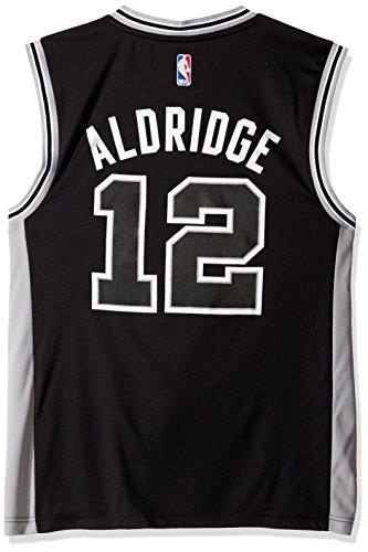 NBA Men's San Antonio Spurs LaMarcus Aldridge Replica Player Stretch Jersey, 2X-Large, Black