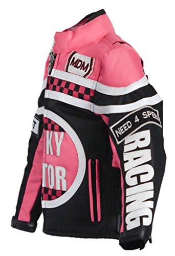 MDM Mädchen Motorradjacke in rosa für Kinder, Bikerjacke, Racing Jacke