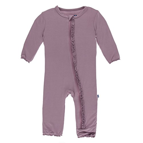 Kickee Pants Little Girls Solid Muffin Ruffle Coverall with Zipper - Elderberry, 3-6 Months