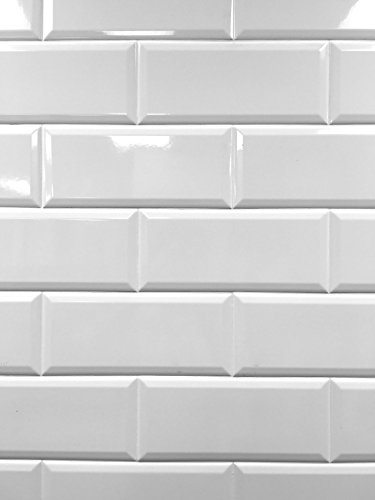 4x10 White Glossy finish Beveled Ceramic Subway Tile Shower Walls Backsplashes (1 piece)