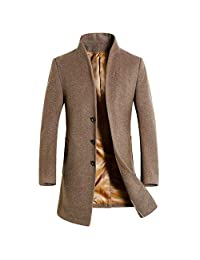 OGOUGUAN LIC-Store Men's Long Sleeve Trench Coat Fashion Slim Style with Side Pockets