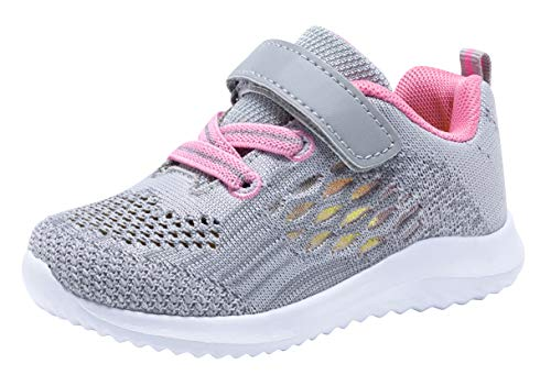 COODO Toddler/Little Kid Boys Girls Shoes Running Sports Sneakers (8 Toddler,Grey Pink) (Size 8 Sneakers For Girls)