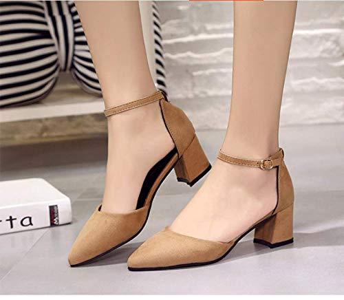 KOKQSX sexy alto 5 cm sandali marrone chiaro detto camoscio capo sola trentotto tacco fibbia XrqXf8