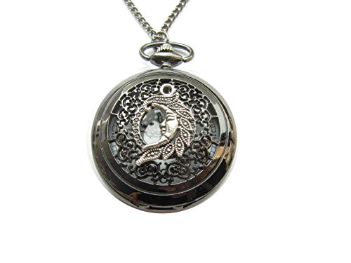 (Crescent Moon Pocket Watch Necklace, Moon Pendant, Half Moon Necklace, Celestial Pendant, Moon Charm)