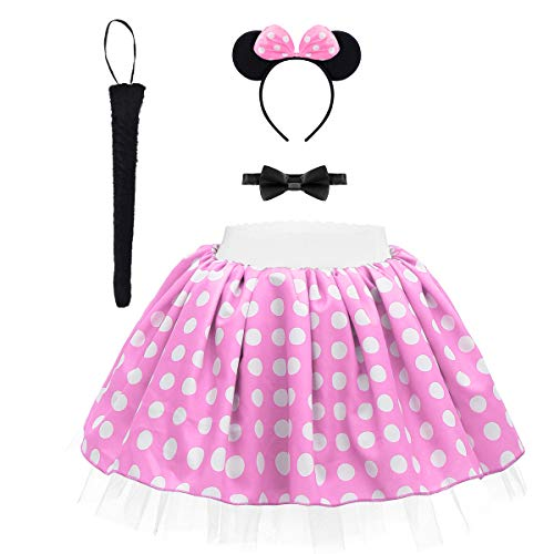 Minnie Costume Baby Kids Girls Vintage Polka Dot Ruffle Tutu Skirt Clothing Set Birthday Outfit Christmas Halloween Dress up Costume with Ears Headband+Bow Tie+Tail for Photo Party Cosplay Pink 5-6Y