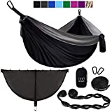 Gold Armour XL Double Hammock with Bug Net and Tree Straps (Black & Gray, Double)