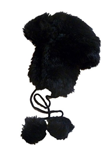 (JCP Womens Black Faux Fur Trapper Style Aviator Hat Plush Pom Pom)