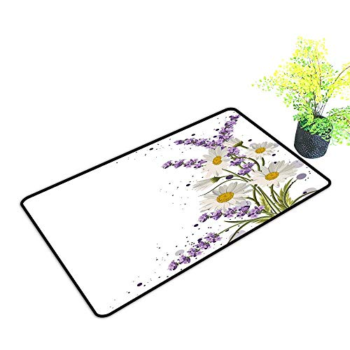 Printed Door mat Lavender Vivid Bouquet with Daisies Color Slashes Scenic Modern Artistic W35 xL47 Country Home Decor Lilac Reseda Green Marigold
