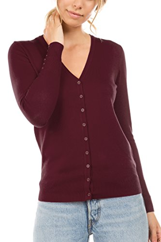 (CIELO Women's Regular Solid Cardigan with Decorative Buttons Burgundy Small)