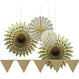 Sunbeauty Serie de Oro Abanicos de papel & bandera triángulo & Bolas alveolar decoración para boda cumpleaños fiesta celebración Santa semana San Valentín ceremonia (Oro)
