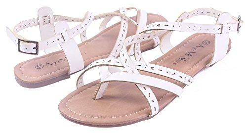 Non Ageemi Sandales Cuir Talon Unie Boucle Shoes Blanc Femmecouleur Pu gPwvqpgW