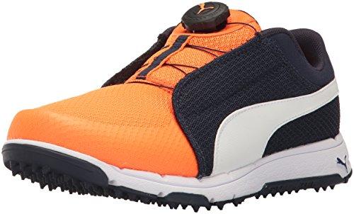 Puma Golf Unisex Grip Sport JR. DISC Golf Shoe, Peacoat-Puma White-Orange Clown Fish, 5 Medium Youth US Big Kid