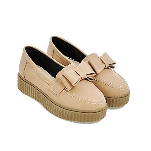 AllhqFashion Damen Niedriger Absatz Rein Weiches Material Rund Zehe Pumps Schuhe Aprikosen Farbe