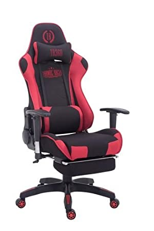 CLP Silla Gaming Turbo Tapizado de Tela I Silla Gamer Giratoria I Silla Racing Regulable en Altura I Silla Oficina con Reposapiés I Color: Negro/Rojo: ...