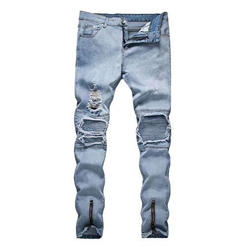 Jeans Da Uomo Destroyed Shorts In Denim Slim Fit Ripped Abbigliamento Strech Holes Pantaloni Casual Hellblau