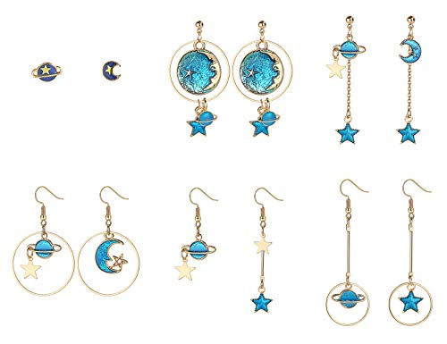 Finrezio 6Pairs Moon and Star Earth Planet Drop Asymmetric Earrings Long Pendant Dangle Jewelry for Woman Girls ()