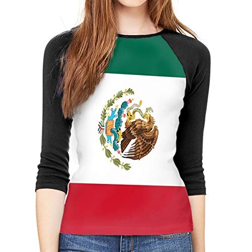 Cornu-99 Women's 3/4 Sleeve Raglan T Shirt Flag of Mexico Baseball Tunic Tops Blouse (Mexico T-shirt Cap Womens Sleeve)